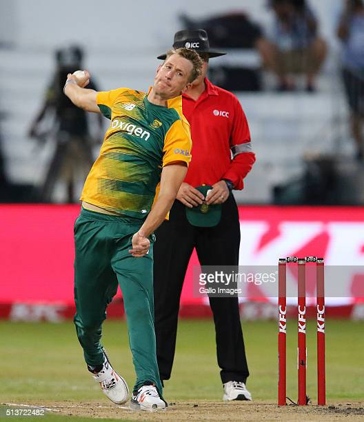 Chris Morris bowls during the 1st KFC T20 International match between South Africa and Australia at Sahara Stadium Kingsmead on March 04 2016 in...