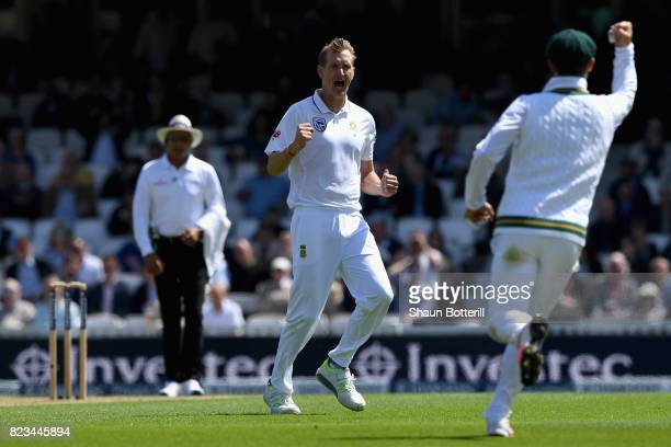 Chris Morris of England celebrates taking Tom Westley of South Africa wicket during Day One of the 3rd Investec Test match between England and South...