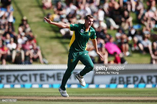 Chris Morris of South Africa appeals for the wicket of Tom Latham of New Zealand during the First One Day International match between New Zealand and...