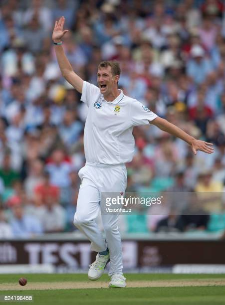 Chris Morris of South Africa appeals unsuccessfully for the wicket of Alastair Cook during day one of the 3rd Investec test between England and South...