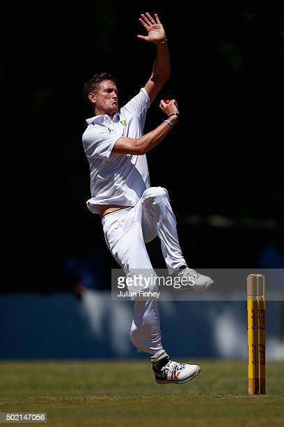 Chris Morris of South Africa bowls during day two of the tour match between South Africa A and England at City Oval on December 21 2015 in...