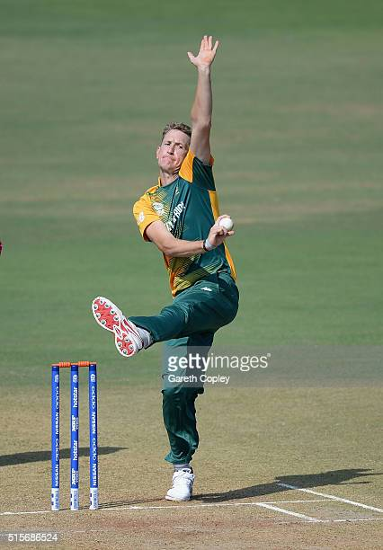 Chris Morris of South Africa bowls during the ICC Twenty20 World Cup Warm Up match between Mumbai Cricket Association XI and South Africa at...