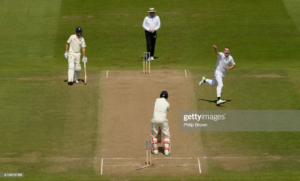 Chris Morris of South Africa celebrates after bowling Joe Root of England during the fourth day of the 2nd Investec Test match between England and South Africa at Trent Bridge cricket ground on July 17, 2017 in Nottingham, England.