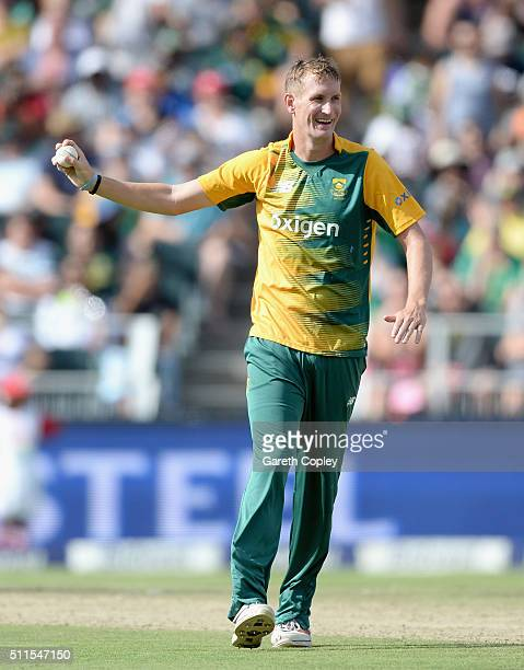 Chris Morris of South Africa celebrates dismissing Ben Stokes of England during the 2nd KFC T20 International match between South Africa and England...
