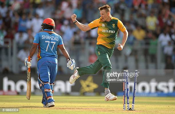 Chris Morris of South Africa celebrates dismissing Mohammad Shahzad of Afghanistan during the ICC World Twenty20 India 2016 Super 10s Group 1 match...