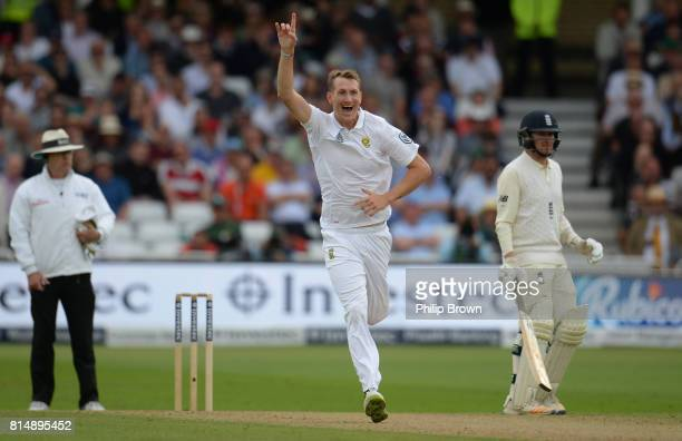 Chris Morris of South Africa dismisses Stuart Broad of England lbw during the second day of the 2nd Investec Test match between England and South...