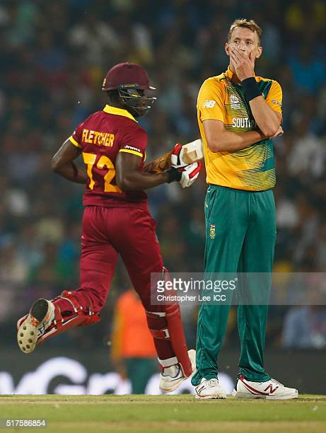 Chris Morris of South Africa looks dejected as the WQest Indies scores runs from his bowling during the ICC World Twenty20 India 2016 Group 1 match...