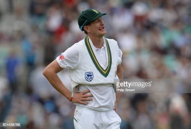 Chris Morris of South Africa reacts during the fourth day of the 3rd Investec Test match between England and South Africa at the Kia Oval on July 30...
