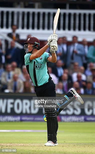 Chris Morris of Surrey hits out during the NatWest T20 Blast match between Middlesex and Surrey at Lord's Cricket Ground on July 21 2016 in London...