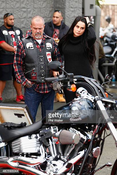 Chris Morris the father of Connor Morris and Millie ElderHolmes pay their respects following a memorial ride for the late Connor Morris on August 1...