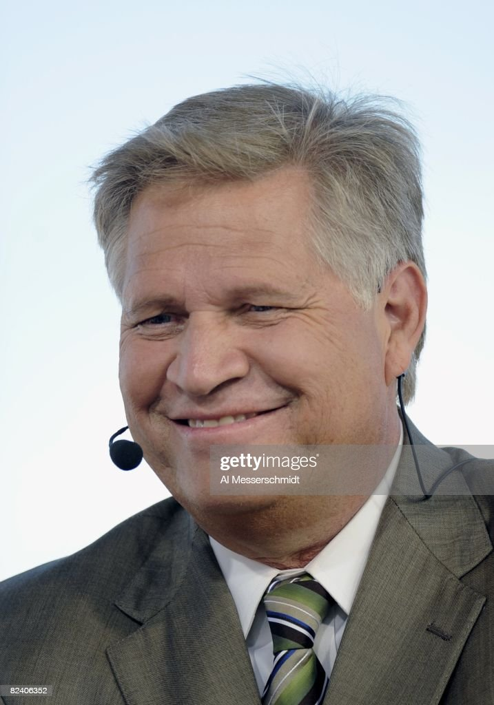 Chris Mortensen of ESPN comments during Class of 2008 Pro Football Hall of Fame Enshrinement Ceremonies at Fawcett Stadium on August 2 2008 in Canton...