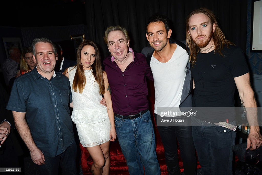 L-R <a gi-track='captionPersonalityLinkClicked' href=/galleries/search?phrase=Chris+Moyles&family=editorial&specificpeople=220407 ng-click='$event.stopPropagation()'>Chris Moyles</a>, Mel C, <a gi-track='captionPersonalityLinkClicked' href=/galleries/search?phrase=Andrew+Lloyd+Webber&family=editorial&specificpeople=157705 ng-click='$event.stopPropagation()'>Andrew Lloyd Webber</a>, Ben Forster and <a gi-track='captionPersonalityLinkClicked' href=/galleries/search?phrase=Tim+Minchin&family=editorial&specificpeople=2244352 ng-click='$event.stopPropagation()'>Tim Minchin</a> attend the afterparty for the press night of Jesus Christ Superstar, the arena tour at The O2 Arena on September 21, 2012 in London, England.