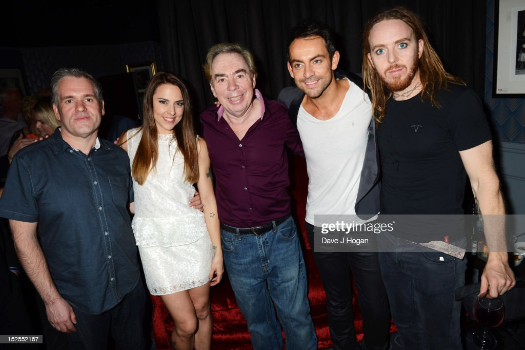 L-R Chris Moyles, Mel C, Andrew Lloyd Webber, Ben Forster and Tim Minchin attend the afterparty for the press night of Jesus Christ Superstar, the arena tour at The O2 Arena on September 21, 2012 in London, England.