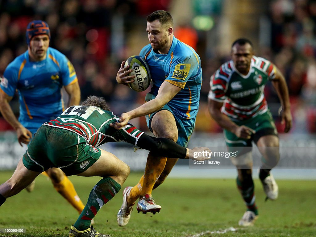 Chris Moyor of Wasps in action during the LV=Cup match between Leicetser Tigers and London Wasps at Welford Road on January 26, 2013 in Leicester, England.