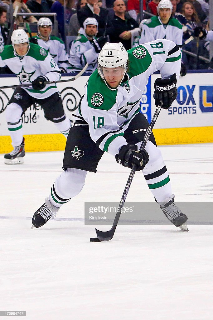 Chris Mueller of the Dallas Stars controls the puck during the game against the Columbus Blue Jackets on March 4 2014 at Nationwide Arena in Columbus...