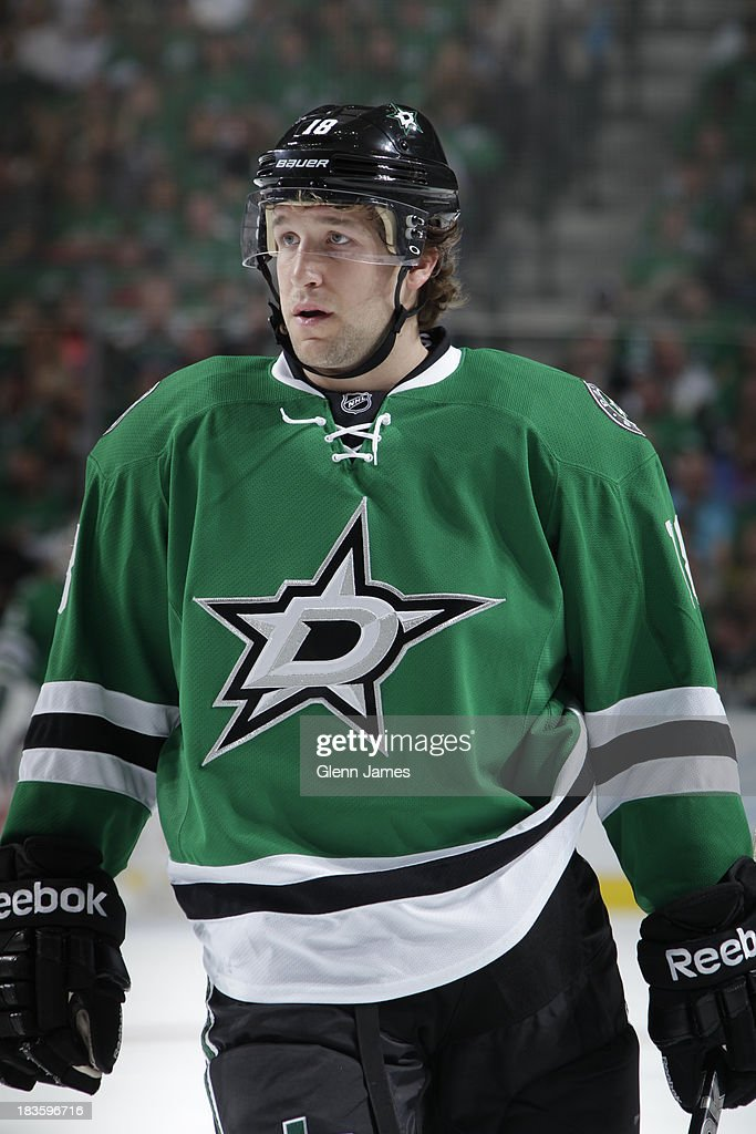 Chris Mueller of the Dallas Stars skates against the Florida Panthers in the home opener at the American Airlines Center on October 3 2013 in Dallas...