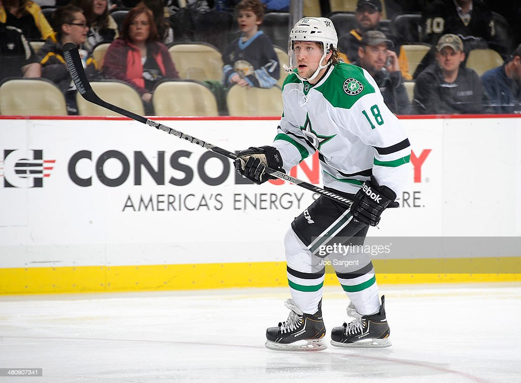 Chris Mueller of the Dallas Stars skates against the Pittsburgh Penguins on March 18 2014 at Consol Energy Center in Pittsburgh Pennsylvania