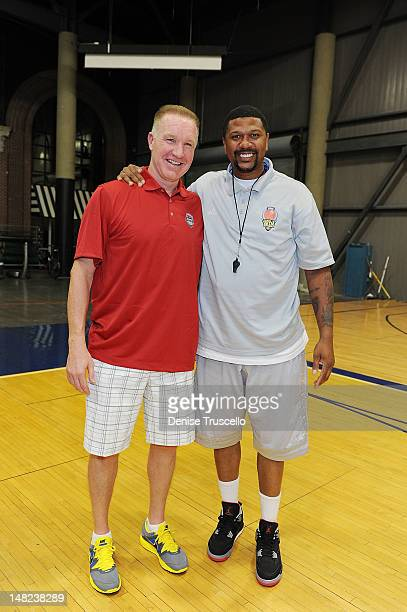 Chris Mullin and Jalen Rose during the Jalen Rose Leadership Academy Clinic at Impact Basketball on July 12 2012 in Las Vegas Nevada