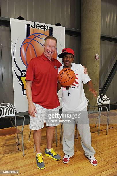 Chris Mullin and Nick Cannon during the Jalen Rose Leadership Academy Clinic at Impact Basketball on July 12 2012 in Las Vegas Nevada