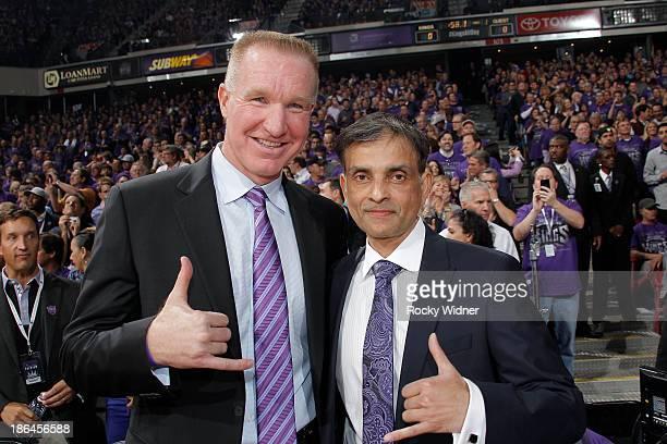 Chris Mullin and Sacramento Kings owner Vivek Ranadive smile for the camera before the Sacramento Kings take on the Denver Nuggets at Sleep Train...