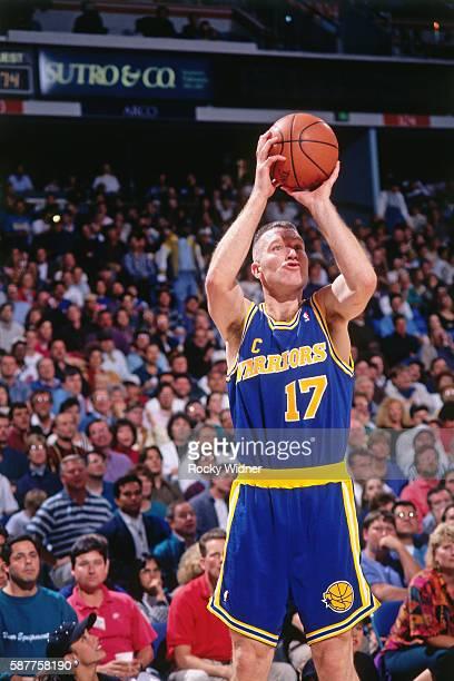 Chris Mullin of the Golden State Warriors prepares to shoot a free throw against the Sacramento Kings circa 1994 at Arco Arena in Sacramento...