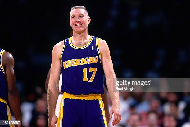 Chris Mullin of the Golden State Warriors smiles circa 1996 at the OaklandAlameda County Coliseum Arena in Oakland California NOTE TO USER User...