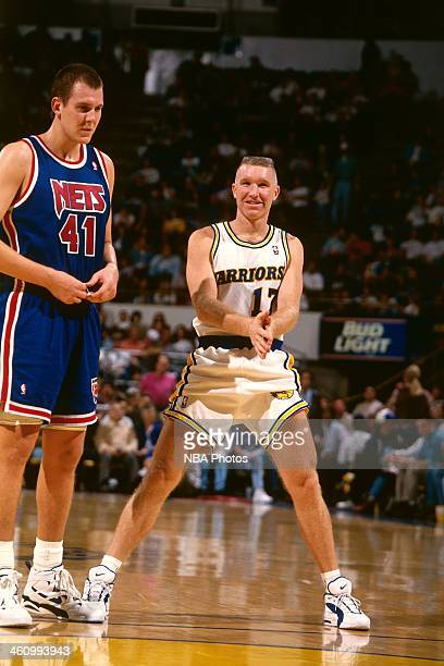 Chris Mullin of the Golden State Warriors stands during a game played circa 1996 at OaklandAlameda County Coliseum in Oakland California NOTE TO USER...