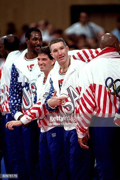 Chris Mullin of the USAB Dream Team enjoys a light moment during the 1992 Olympics in Barcelona Spain NOTE TO USER User expressly acknowledges and...