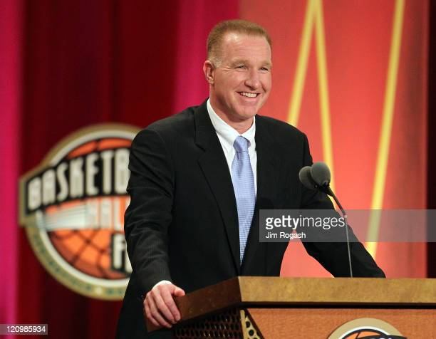 Chris Mullin speaks during the Basketball Hall of Fame Enshrinement Ceremony at Symphony Hall on August 12 2011 in Springfield Massachusetts