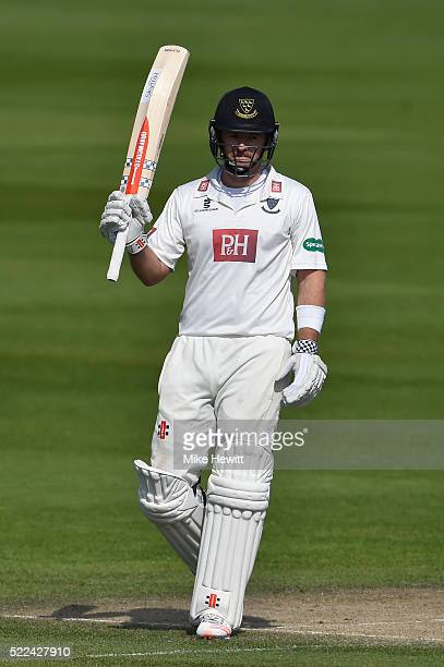 Chris Nash of Sussex acknowledges the crowd's applause for his 50 during the Specsavers County Championship Division Two match between Sussex and...