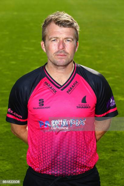 Chris Nash of Sussex CCC poses in the club's one day kit during the Sussex CCC photcall at The 1st Central County Ground on April 5 2017 in Hove...