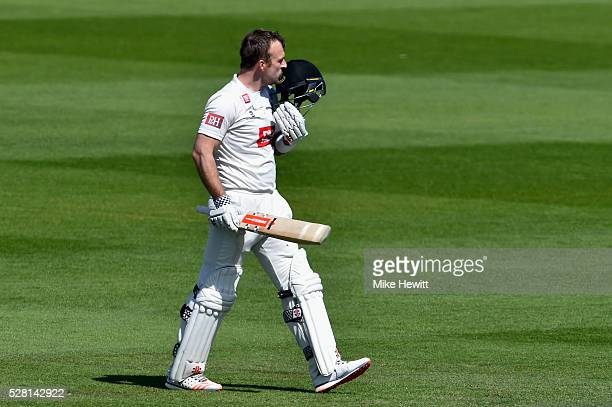 Chris Nash of Sussex celebrates after reahing his century on the fourth day of the Specsavers County Championship Division Two match between Sussex...