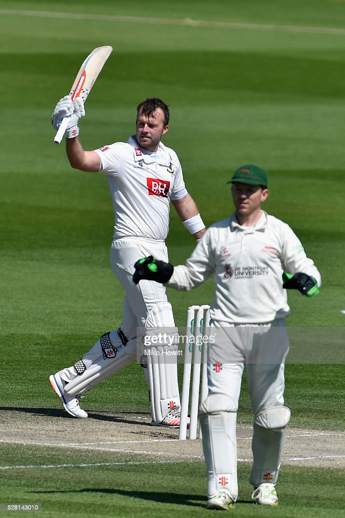 Chris Nash of Sussex celebrates after reahing his century on the fourth day of the Specsavers County Championship Division Two match between Sussex and Leicestershire on May 04, 2016 in Hove, England.