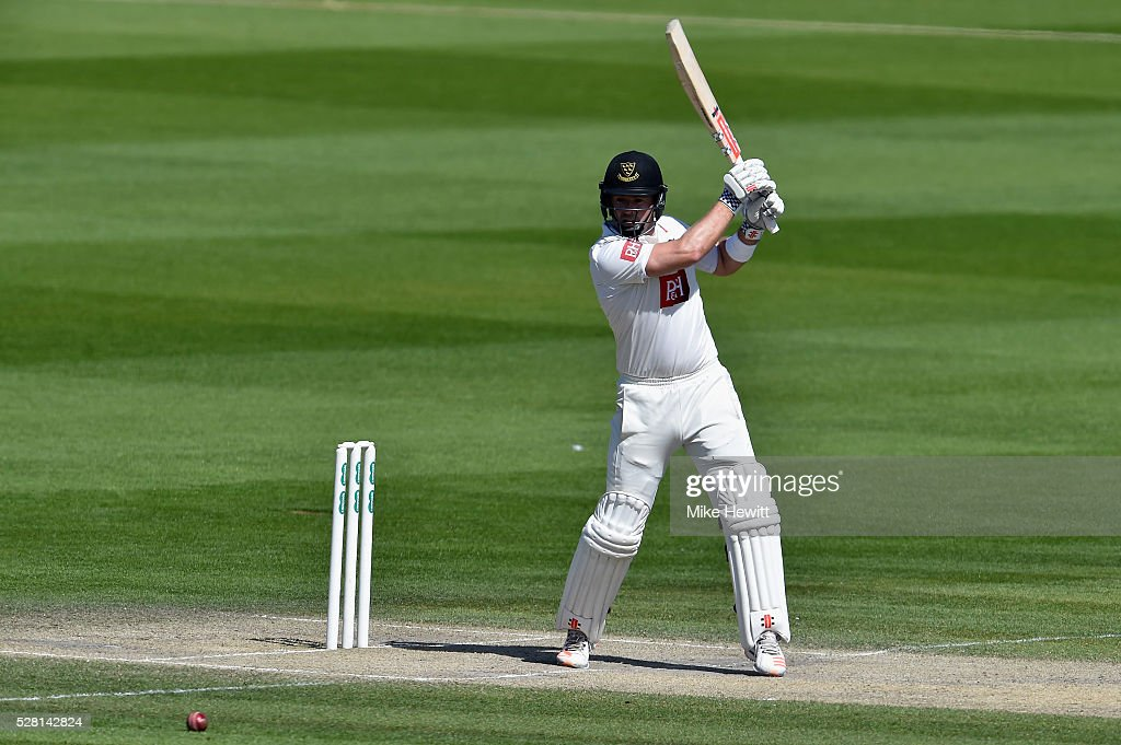 Chris Nash of Sussex cuts for four to bring up his century on the fourth day of the Specsavers County Championship Division Two match between Sussex and Leicestershire on May 04, 2016 in Hove, England.