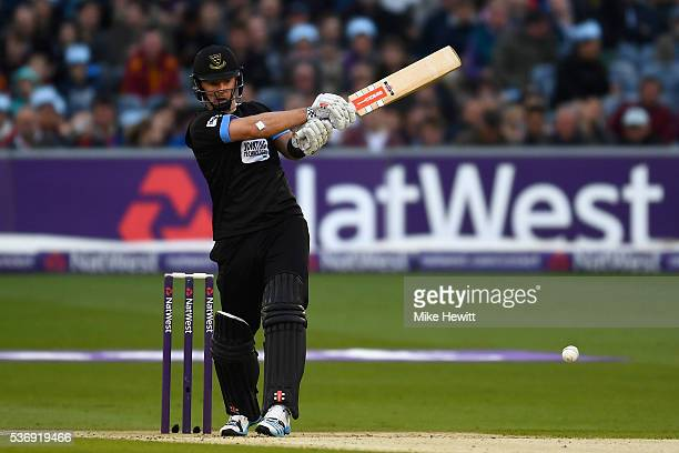 Chris Nash of Sussex hits a boundary during the NatWest T20 Blast between Sussex and Somerset at The 1st Central County Ground on June 1 2016 in Hove...