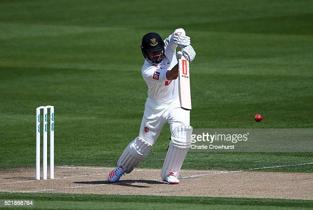 Chris Nash of Sussex hits out during day one of the Specsavers County Championship Division Two match between Sussex and Essex at The 1st Central...
