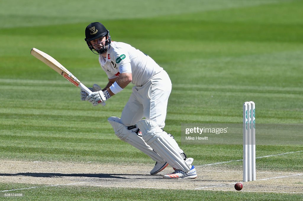 Chris Nash of Sussex hits out during the fourth day of the Specsavers County Championship Division Two match between Sussex and Leicestershire on May 04, 2016 in Hove, England.