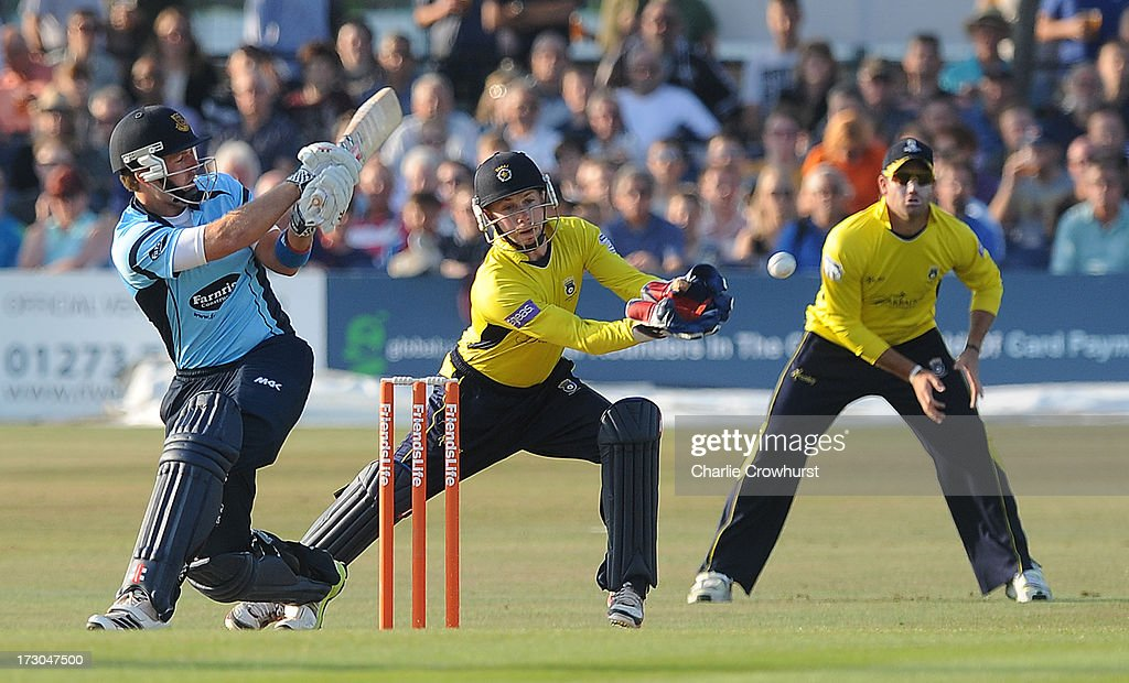 Chris Nash of Sussex hits out during the Friends Life T20 match between Sussex Sharks and Hampshire Royals at The Brighton and Hove Jobs County Ground on July 05, 2013 in Hove, England.