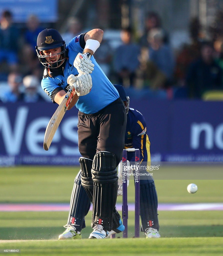 Chris Nash of Sussex hits out during the Natwest T20 Blast match between Sussex Sharks and Glamorgan at The BrightonAndHoveJobs.com County Ground on July 15, 2014 in Hove, England.