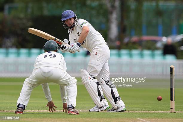 Chris Nash of Sussex plays to the legside as Matt Prudoe of Worcestershire looks on during day one of the LV County Championship first division match...