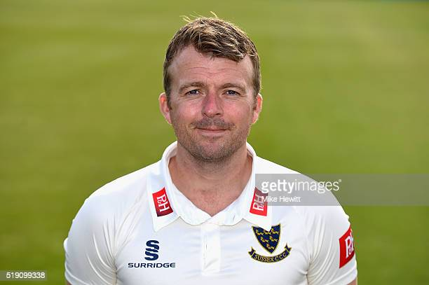 Chris Nash of Sussex poses for a portrait during the Sussex Media Day at the County Ground on April 4 2016 in Hove England
