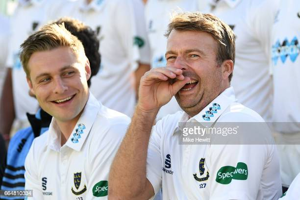 Chris Nash of Sussex shares a joke with captain Luke Wright during a Sussex CCC Photocall at The 1st Central County Ground on April 5 2017 in Hove...
