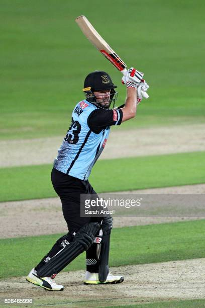 Chris Nash of Sussex Sharks hits a boundary during the match between Kent Spitfires and Sussex Sharks at The Spitfire Ground on August 4 2017 in...