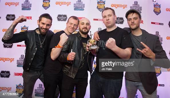 Chris Naughton Simon Lucas Nick Wallwork Richard Brass and Chris Westby of Winterfylleth win the Best Underground Award at the Metal Hammer Golden...