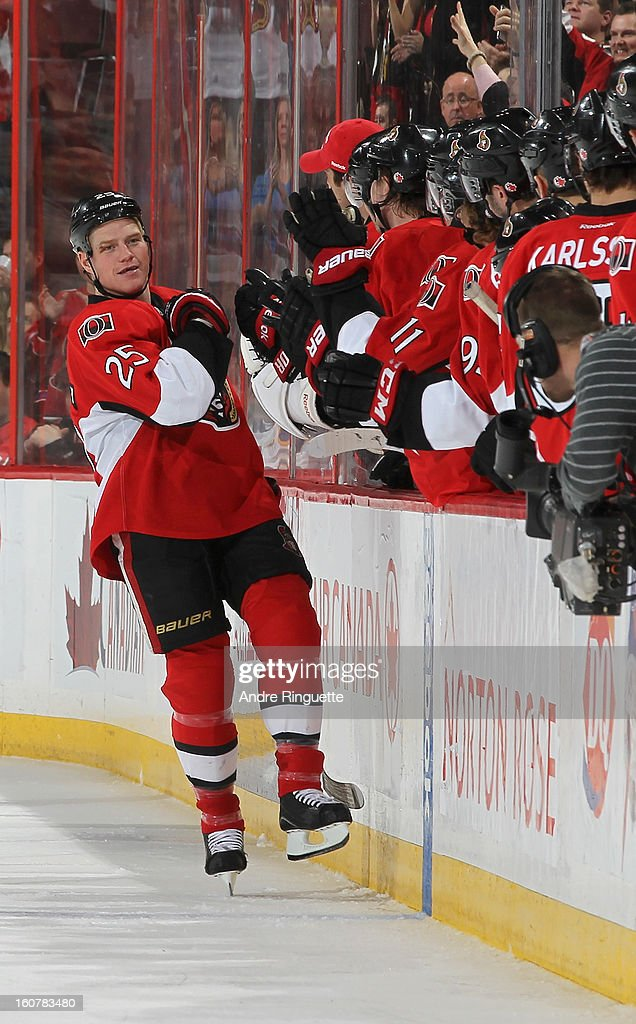 Chris Neil #25 of the Ottawa Senators celebrates his second period goal against the Buffalo Sabres on February 5, 2013 at Scotiabank Place in Ottawa, Ontario, Canada.