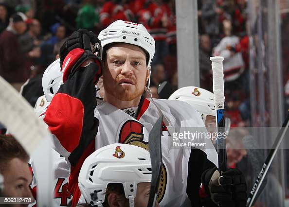 Chris Neil of the Ottawa Senators plays against the New Jersey Devils at the Prudential Center on January 21 2016 in Newark New Jersey The Devils...