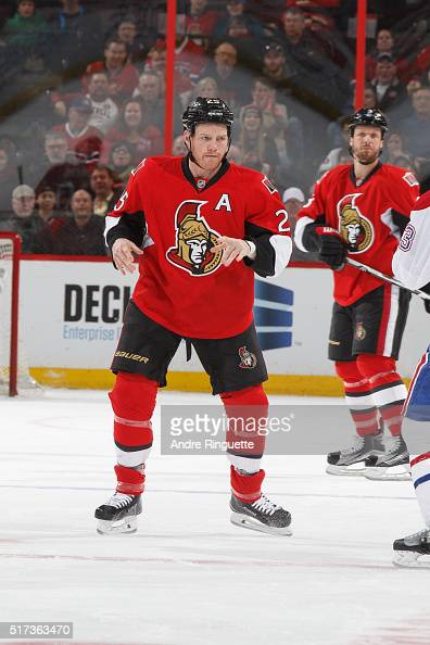 Chris Neil of the Ottawa Senators prepares to fight in a game against the Montreal Canadiens at Canadian Tire Centre on March 19 2016 in Ottawa...