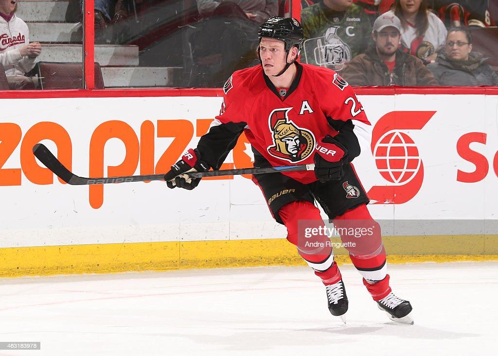 Chris Neil of the Ottawa Senators skates against the Columbus Blue Jackets at Canadian Tire Centre on February 7 2015 in Ottawa Ontario Canada