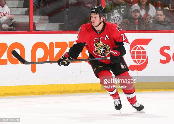 Chris Neil of the Ottawa Senators skates against the Columbus Blue Jackets at Canadian Tire Centre on February 7 2015 in Ottawa Ontario Canada