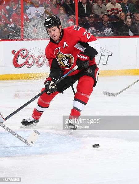 Chris Neil of the Ottawa Senators skates against the Edmonton Oilers at Canadian Tire Centre on February 14 2015 in Ottawa Ontario Canada